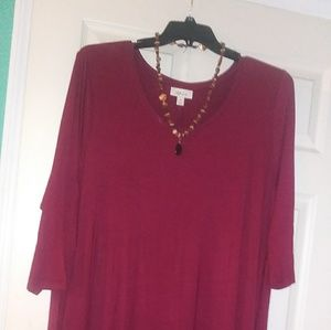 Burgandy midi length dress